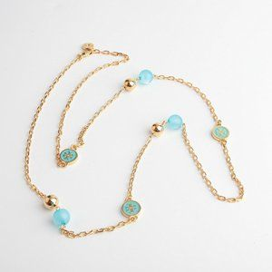 Tory Burch Lacquered Logo Blue Long Necklace
